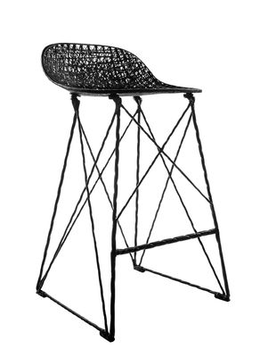 Furniture - Bar Stools - Carbon Outdoor High stool - Outdoor - Seat : H 66 cm by Moooi - H 66 cm - Black - Carbon fibre