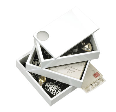 Decoration - Decorative Boxes - Spindle Jewellery box - / 3 swivel compartments by Umbra - White - Lacquered wood