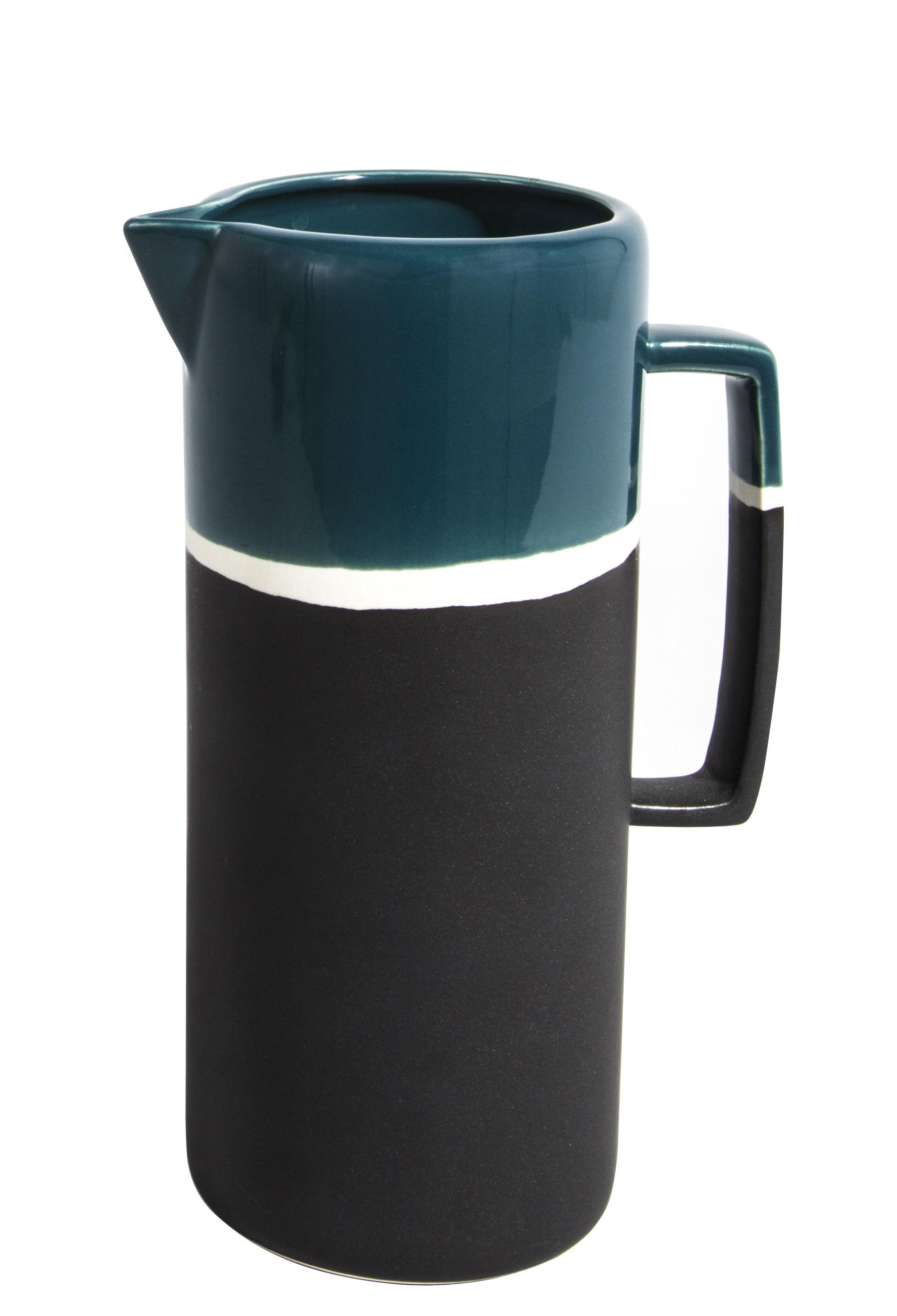Tableware - Water Carafes & Wine Decanters - Sicilia Jug by Maison Sarah Lavoine - Sarah blue - Painted enameled stoneware