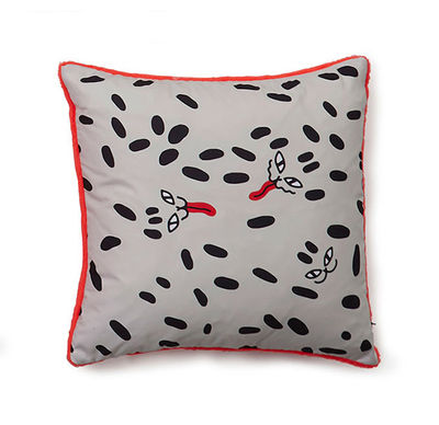 Dekoration - Kissen - Flora & Fauna - Dots Kissen / 40 x 40 cm - Sancal - Wild Dots / schwarz & orange - Microfibre, Polyesterfaser