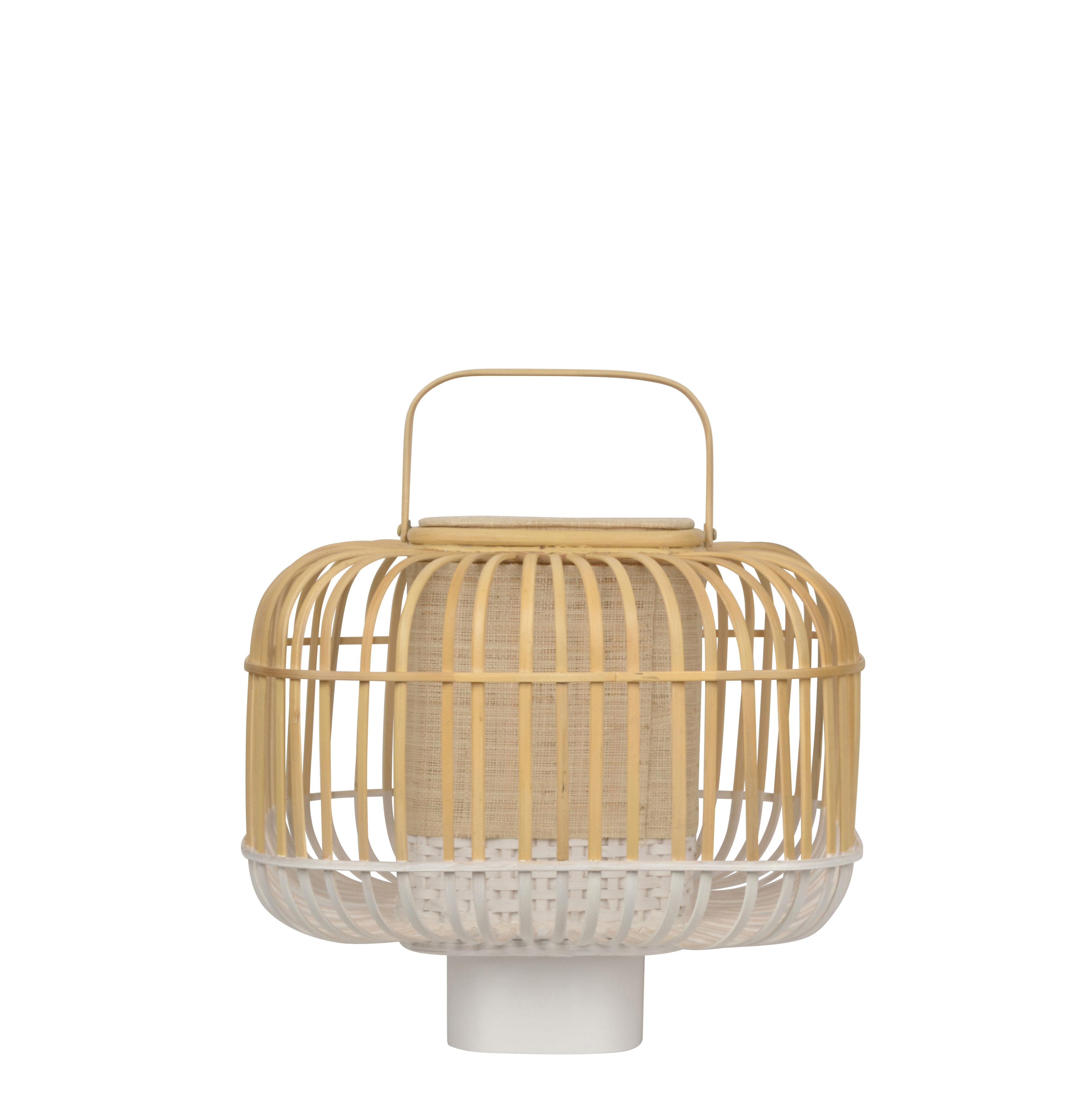 Illuminazione - Lampade da tavolo - Lampada da tavolo Bamboo Square - / Small - H 41 cm di Forestier - Bianco - Bambù, Legno tinto