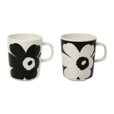 Arts de la table - Tasses et mugs - Mug Juhla Unikko / 25 cl - Set de 2 - Marimekko - Noir & blanc - Grès