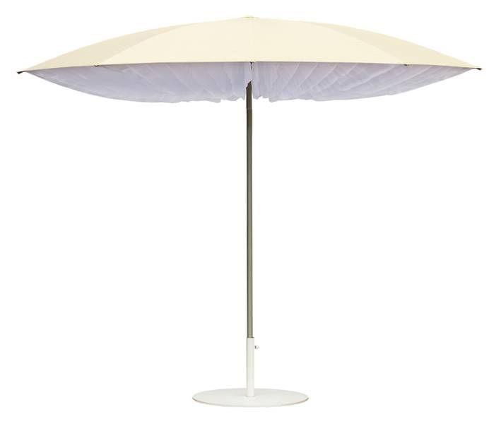 Outdoor - Ombrelloni - Ombrellone Paddo - Ø 190 cm di Symo - Ø 190 cm - Naturale e strisce bianche - Acciaio, Poliestere, Tessuto Sunbrella