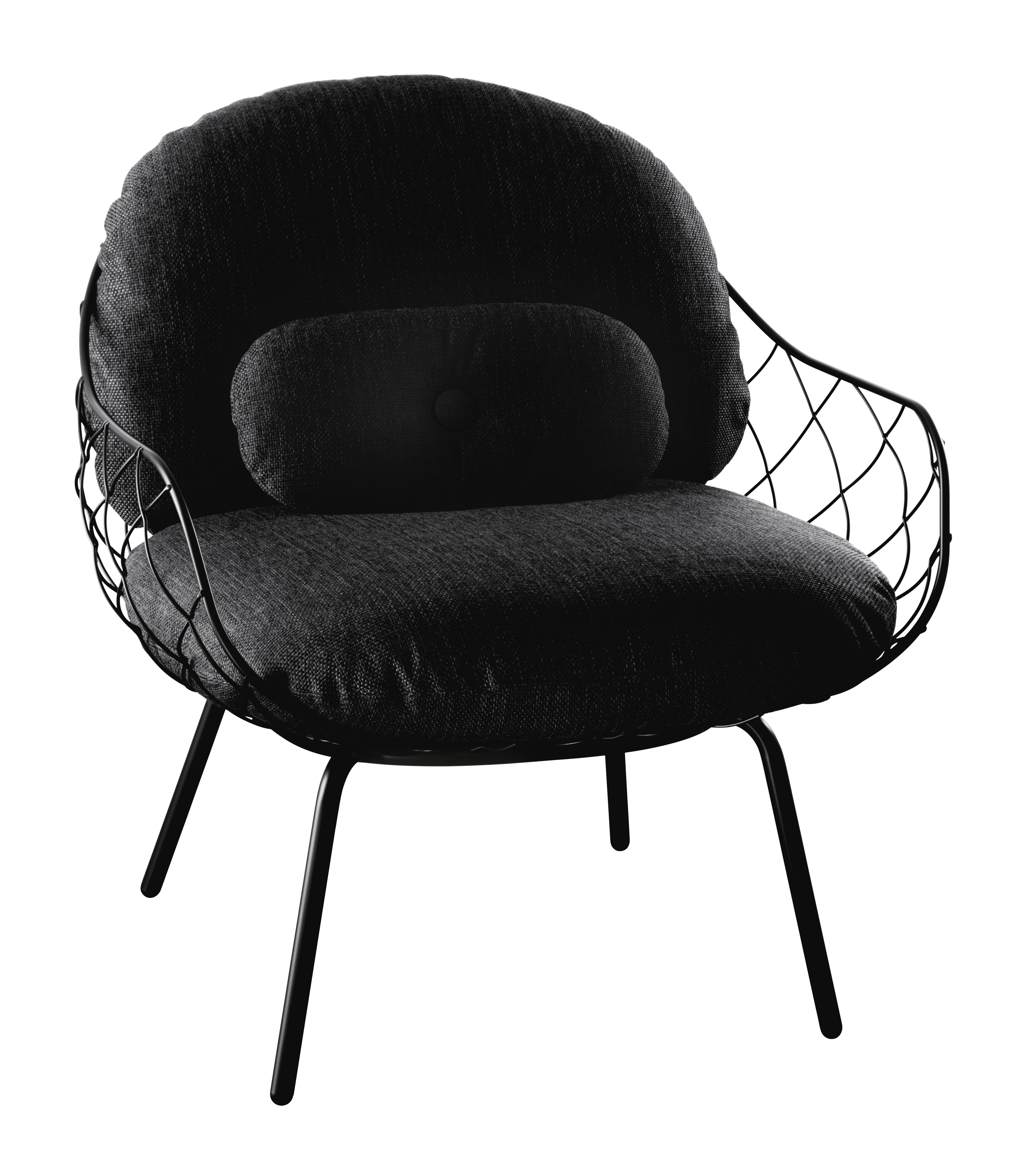 Furniture - Armchairs - Pina Outdoor Padded armchair - Fabric - With small back cushion by Magis - Black structure / Black cushions - Expanded polyurethane foam, Fabric, Varnished steel
