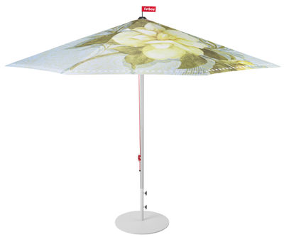 Outdoor - Parasols - Parasol Bouqetteketet / Ø 350 cm - Fatboy - Bleu clair / Papillons & fleurs - Aluminium, Polyester