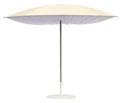 Outdoor - Parasols - Parasol Paddo Ø 190 cm - Symo - Ø 190 cm - Naturel & Volants blancs - Acier, Polyester, Tissu Sunbrella