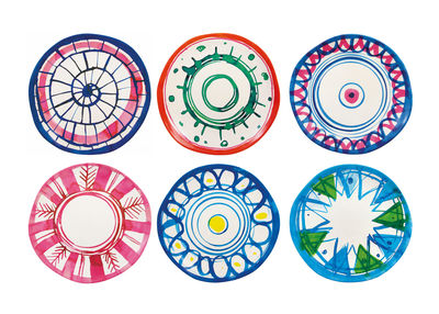 Tableware - Plates - Anouk Plate - / Set of 6 - Bamboo by & klevering - Multicoloured - Printed bamboo fibre
