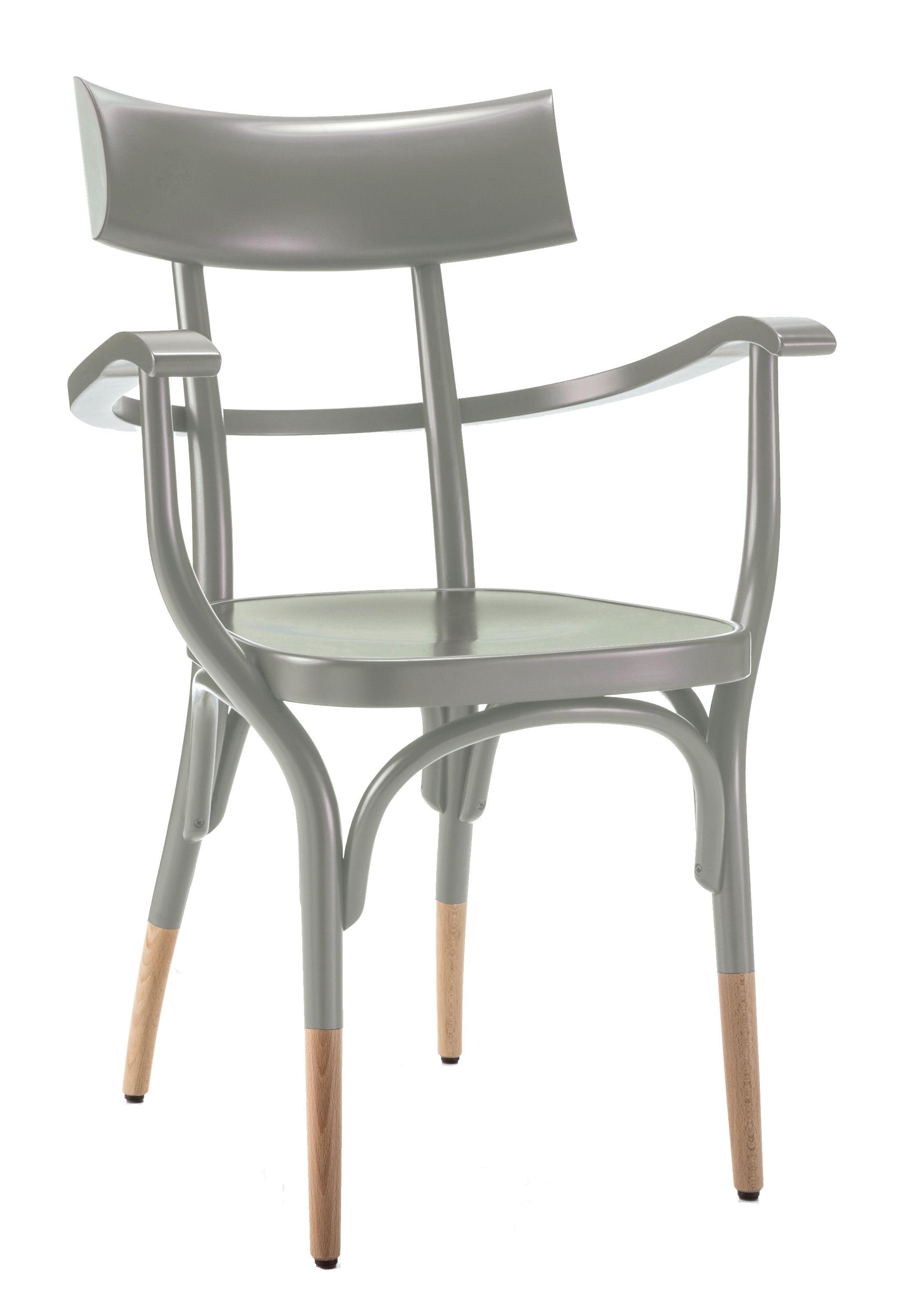 Arredamento - Sedie  - Poltrona Czech - / Legno di Wiener GTV Design - Grigio / Gambe legno naturale - Compensato di faggio, Faggio massello curvato