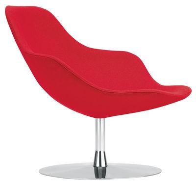 Arredamento - Poltrone design  - Poltrona girevole Palma di Offecct - Rosso - Acciaio cromato, Tessuto