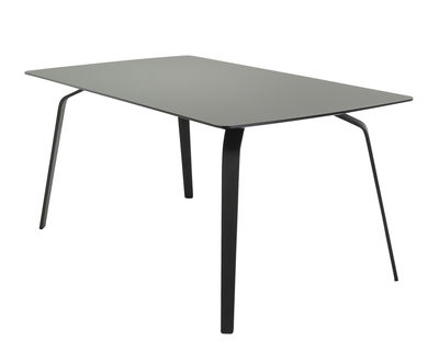 Furniture - Dining Tables - Float Rectangular table - / Linoleum top - L 208 cm by Houe - Ash grey / Black base - Linoleum, Metal