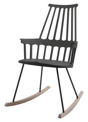 Mobilier - Fauteuils - Rocking chair Comback / Polycarbonate & pieds bois - Kartell - Noir/Bois - Frêne teinté, Technopolymère thermoplastique