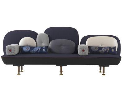 Möbel - Sofas - My Beautiful Backside Sofa L 261 cm - Moroso - Tiefes Blau - Metall, Nussbaum, Wolle
