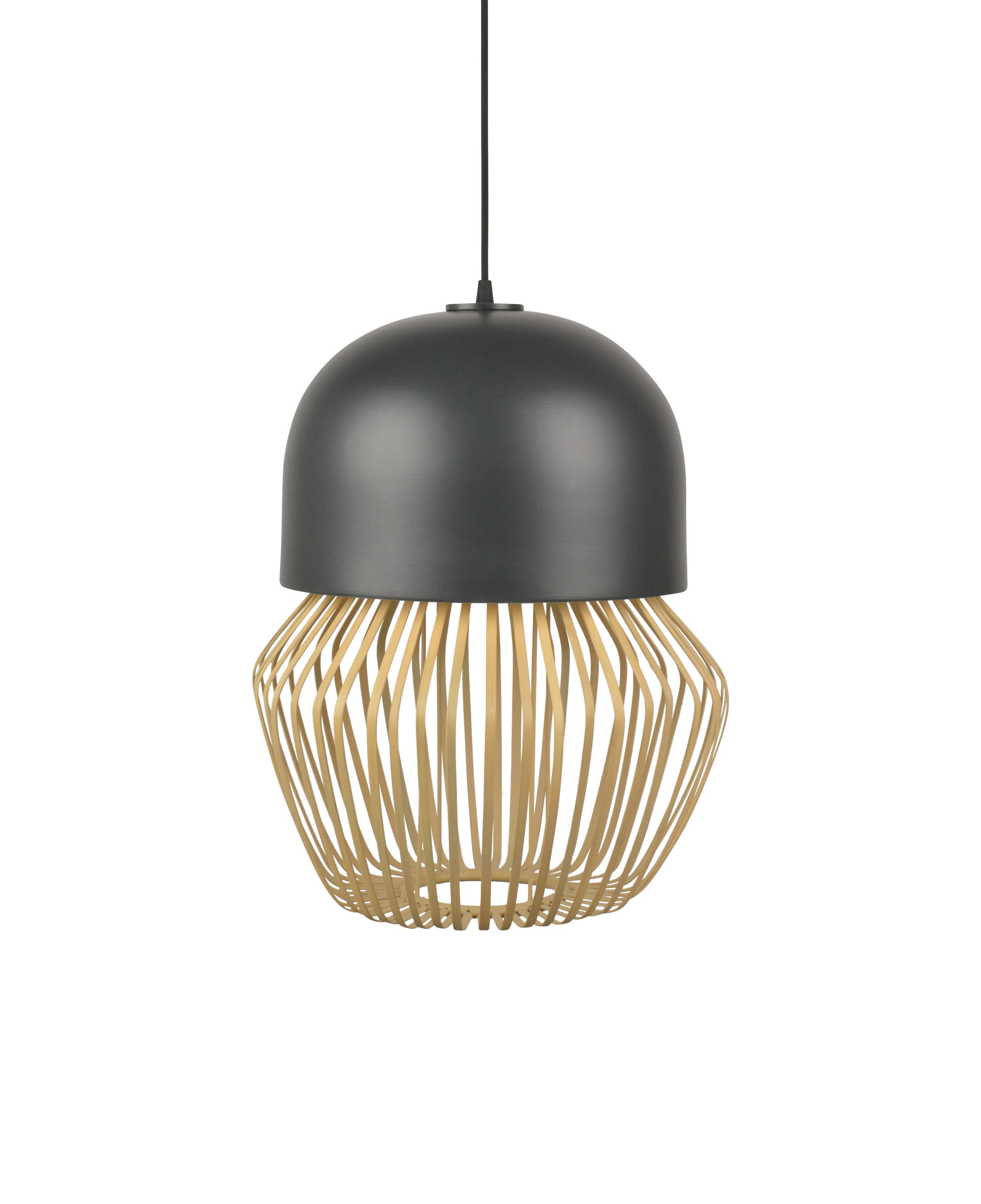 Illuminazione - Lampadari - Sospensione Anemos Small - / Ø 35 x H 45 cm - Bambù & ceramica di Forestier - Small / Antracite & naturale - Bambù, Ceramica smaltata