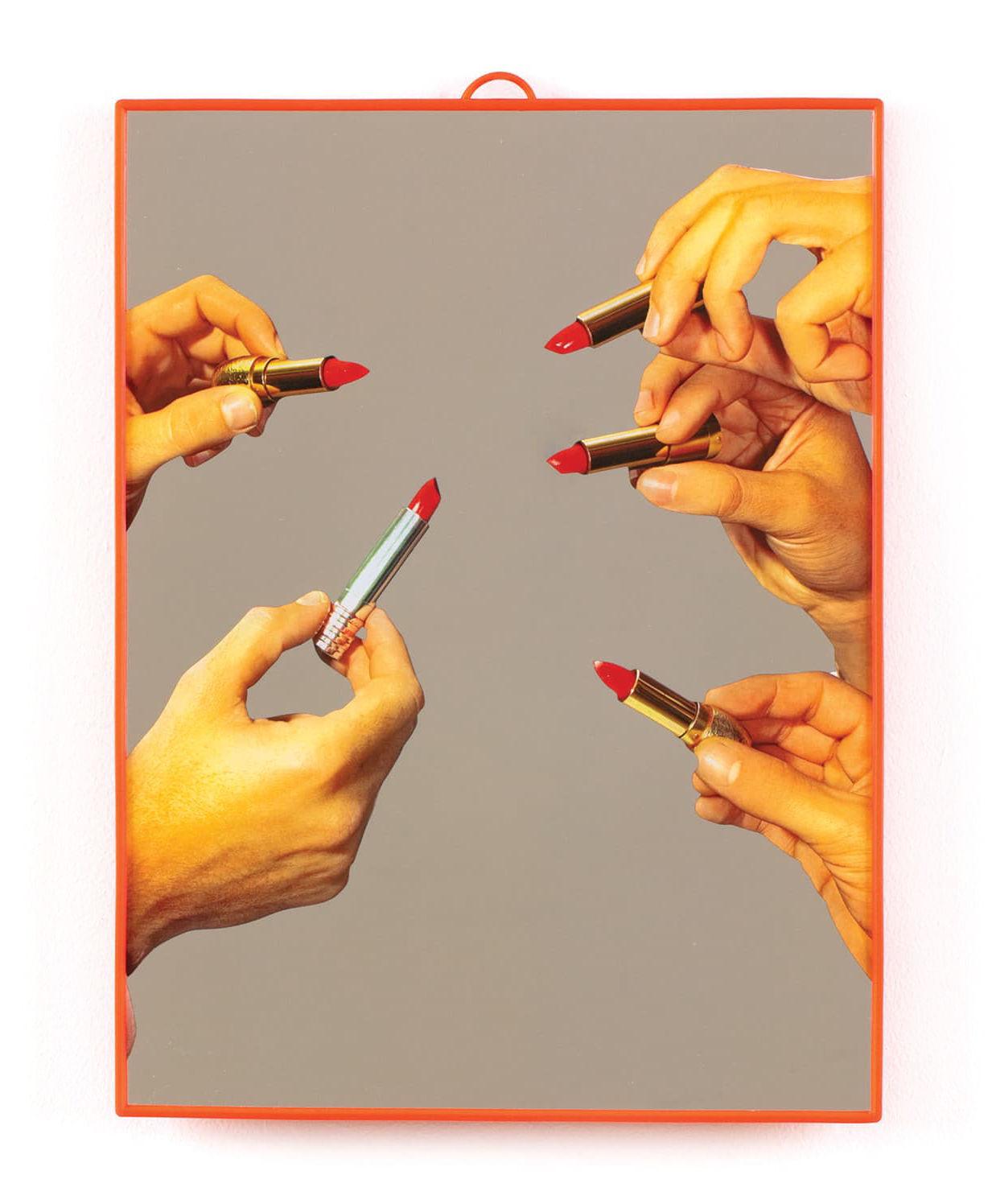 Dekoration - Spiegel - Toiletpaper Spiegel / Lipsticks - Medium H 30 cm - Seletti - lippenstift / Orange - Plastikmaterial, Verre sérigraphié