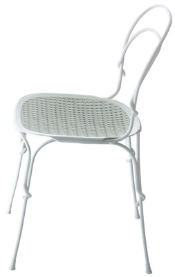 Möbel - Stühle  - Vigna Stapelbarer Stuhl / Metall & Sitzfläche Kunststoff - Magis - Sitzfläche: weiß & grau - gefirnister Stahl, Polypropylen