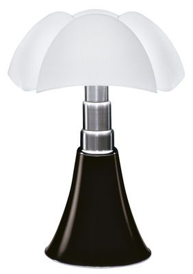 Lighting - Table Lamps - Pipistrello Table lamp - H 66 to 86 cm by Martinelli Luce - Dark chesnut - Galvanized steel, Lacquered aluminium, Opal methacrylate