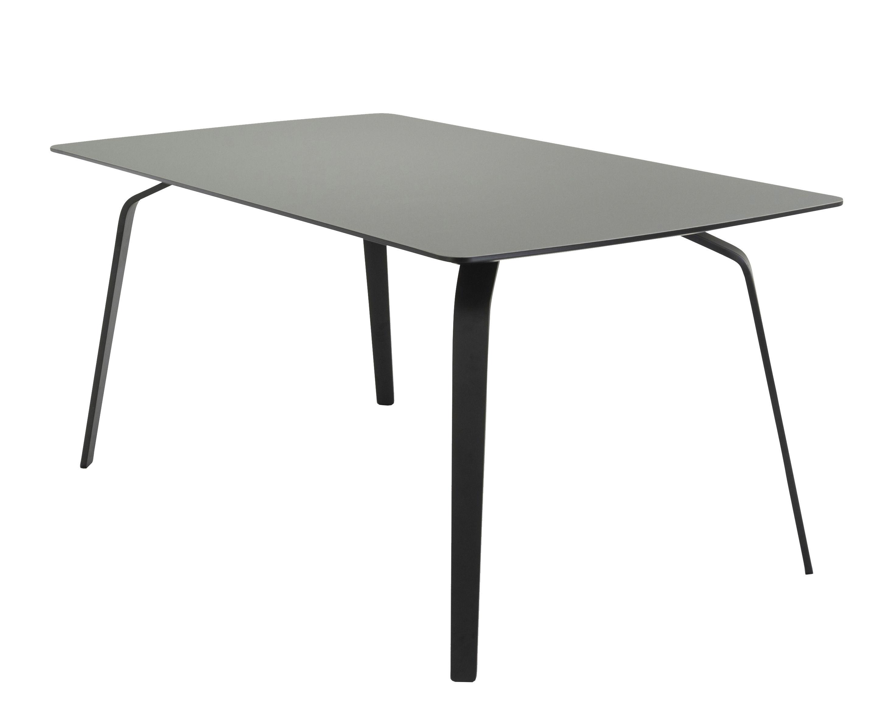 Mobilier - Tables - Table rectangulaire Float / Plateau linoleum - L 208 cm - Houe - Gris cendre / Piètement noir - Linoléum, Métal