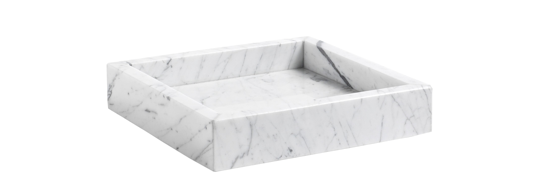 Tischkultur - Tabletts - Marble Tray Small Tablett / 22 x 22 cm - Marmor - Hay - Weiß / mit grauer Maserung - Marbre de Carrare
