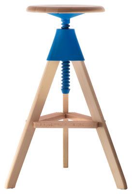 Mobilier - Tabourets de bar - Tabouret haut réglable Tom / Pivotant - Bois & plastique - Magis - Hêtre / Bleu clair - Hêtre massif, Polypropylène