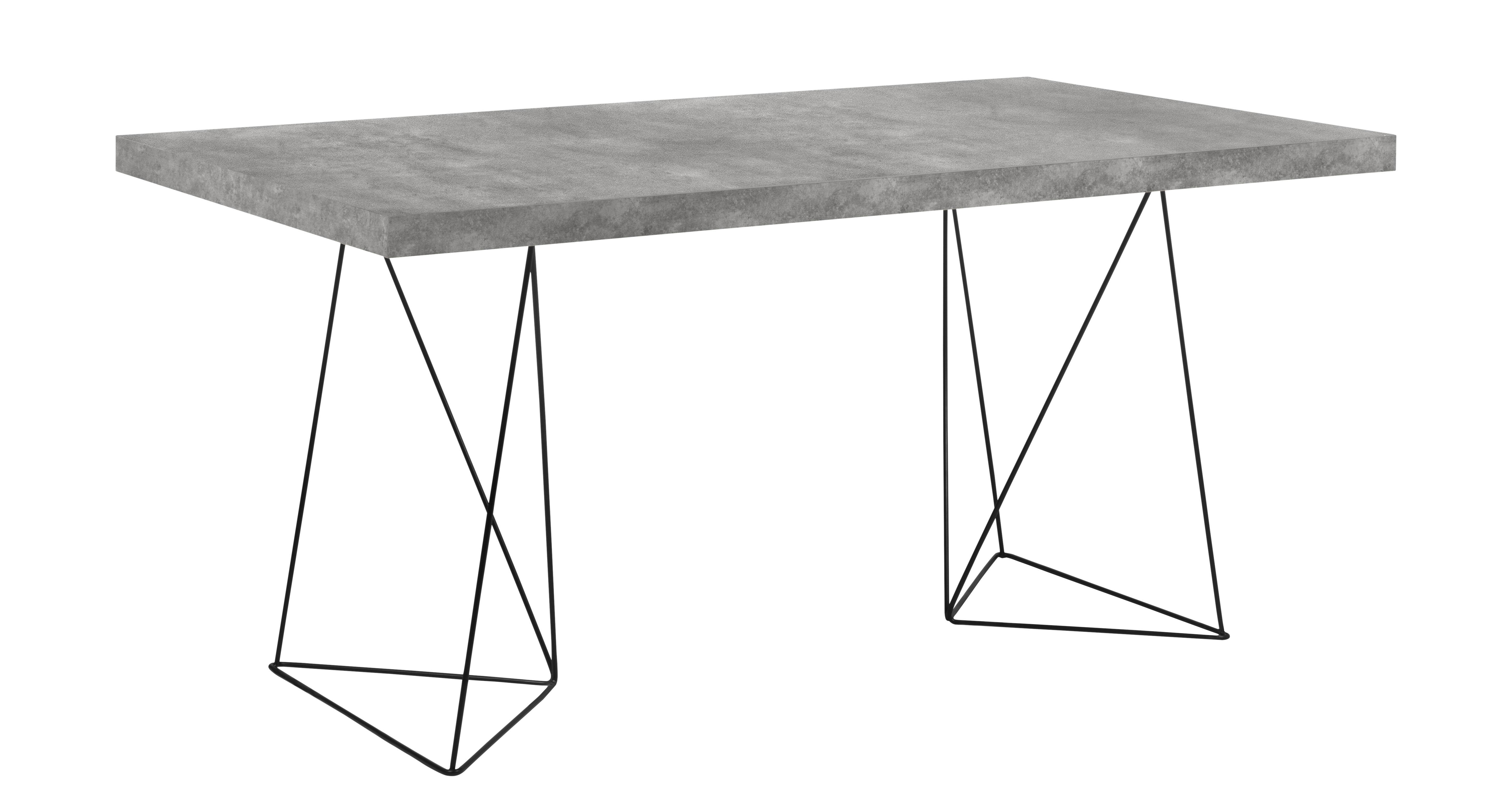Arredamento - Tavoli - Tavolo Trestle / L 160 cm - Effetto cemento - POP UP HOME - Effetto cemento / Piede nero - metallo laccato, Panneau d'aggloméré