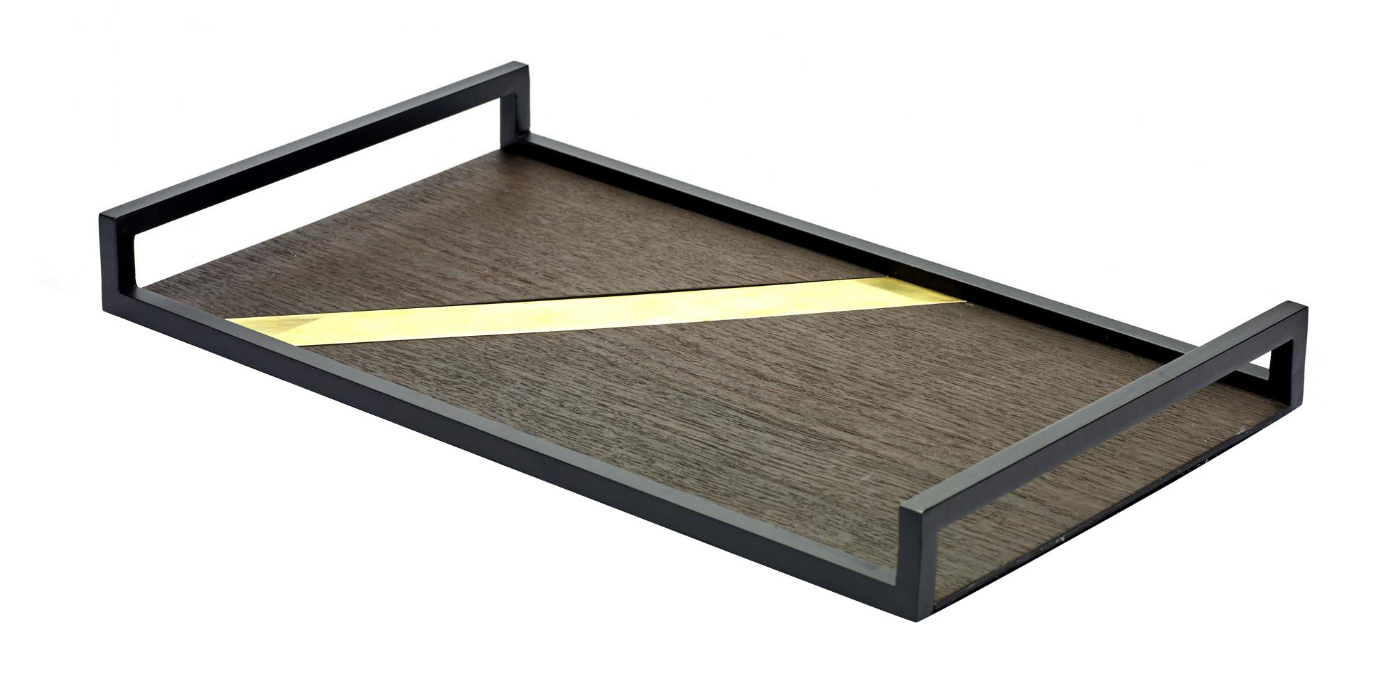 Tableware - Trays - Charles Tray - 40 x 24 cm -  Wood & metal by Serax - Wood xwith brass line / Black frame - Brass, Lacquered steel, Wood