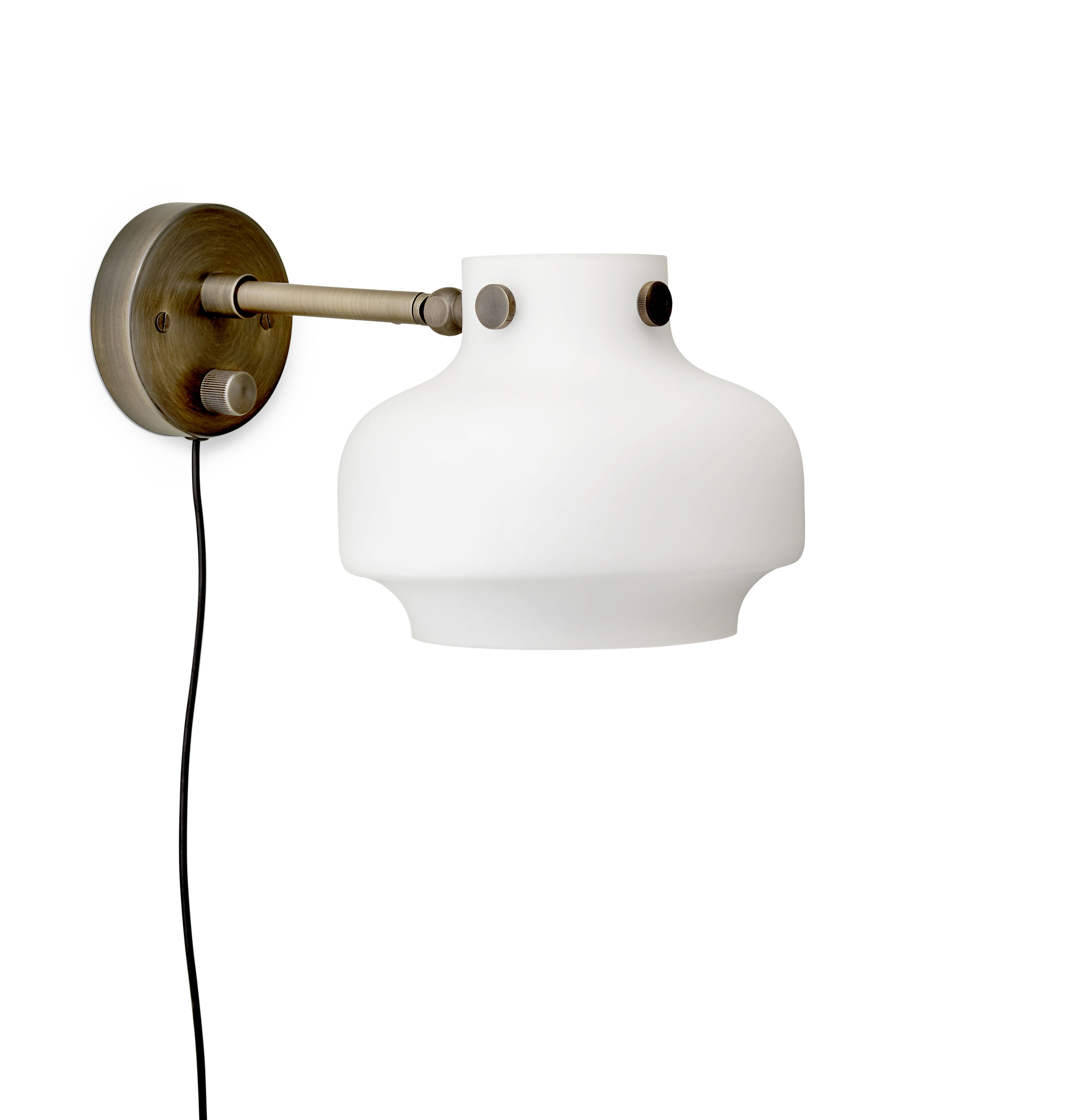Lighting - Wall Lights - Copenhague SC16 Wall light with plug - / LED - ø 16 cm - Glass by &tradition - White / Bronze - Brass, Mouth blown glass