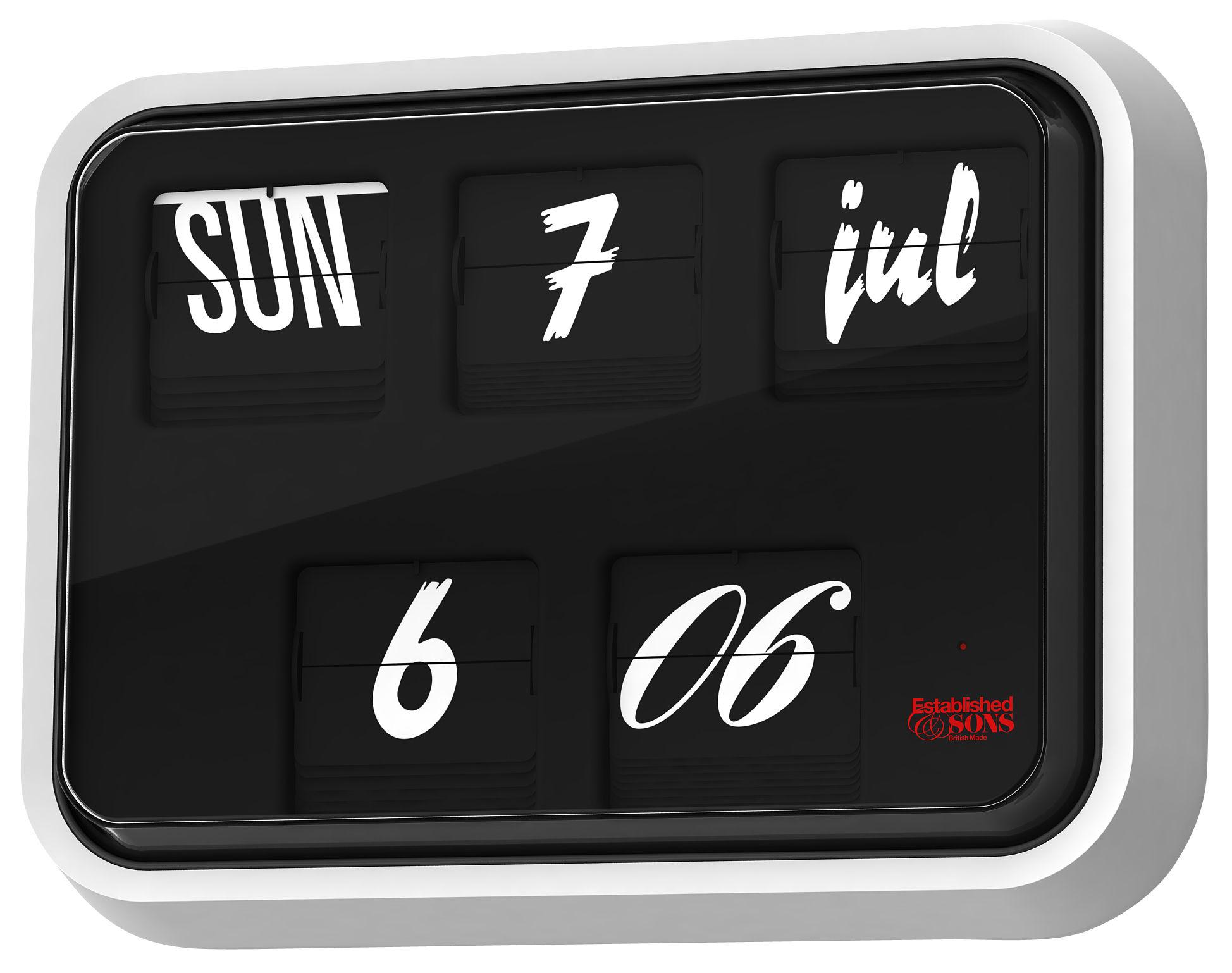 Dekoration - Uhren - Font Clock Wanduhr mit Kalenderfunktion - Established & Sons - Schwarz /weiß  - 42 x 31 cm - ABS, Glas