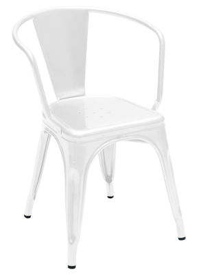 Furniture - Chairs - A56 Armchair - Steel - Shinny color by Tolix - White - Lacquered steel