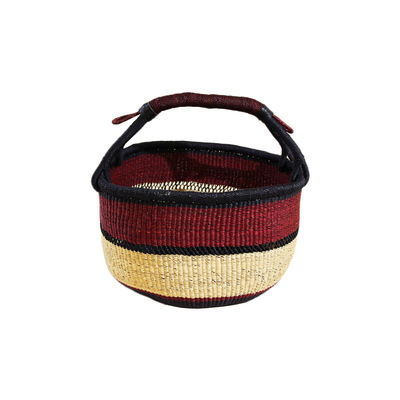 Decoration - Boxes & Baskets - Bolga Basket - / Hand-braided natural fibre - Ø 38 x H 27 cm by Maison Sarah Lavoine - Aubergine - Veta vera