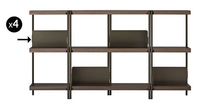Furniture - Bookcases & Bookshelves - Book end - For ZigZag bookcase - Set of 4 by Driade - Bronze - Polished stainless steel