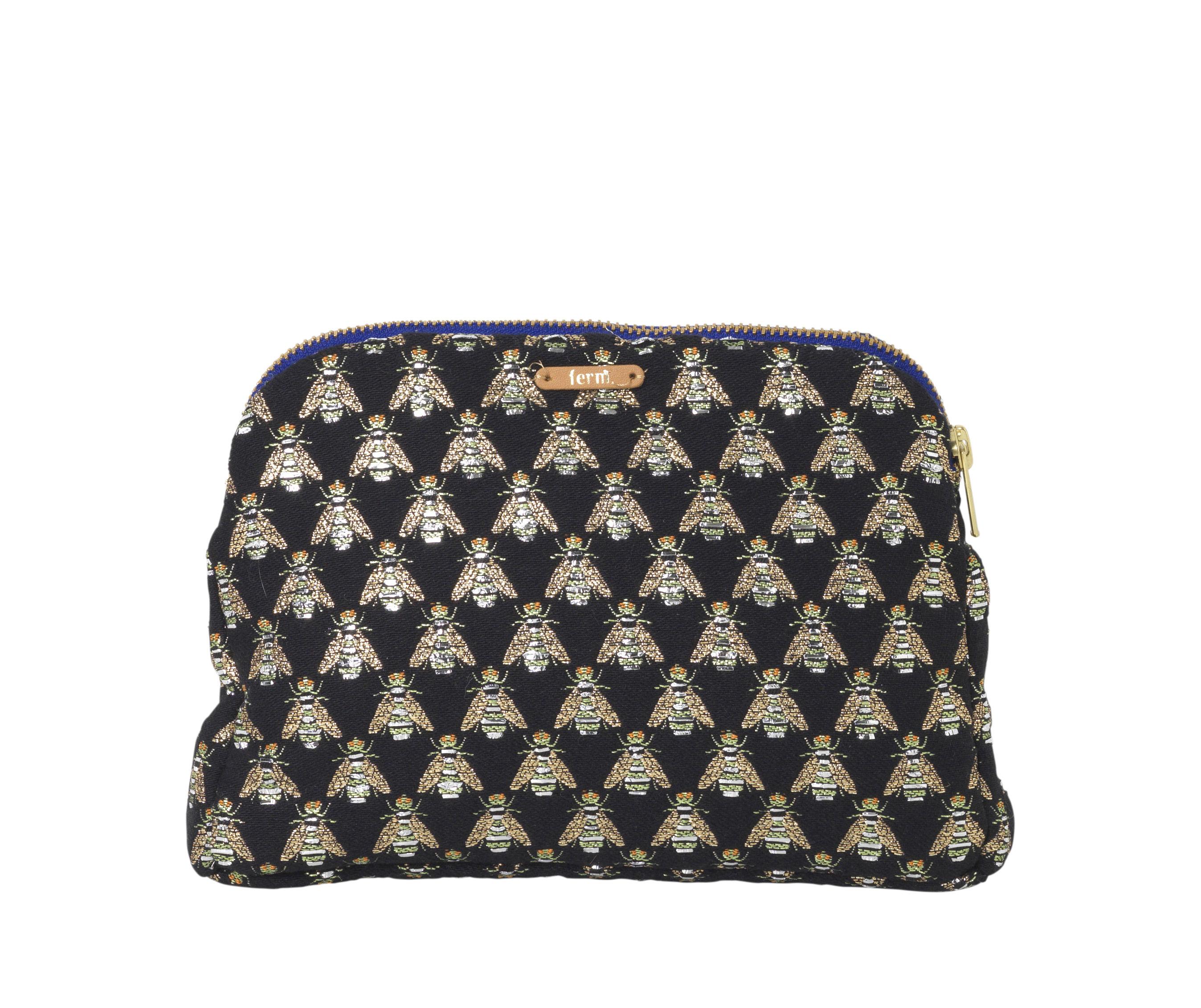Accessories - Bags, Purses & Luggage - Salon - Mouche Case by Ferm Living - Black & gold - Brass, Mixed-fibre