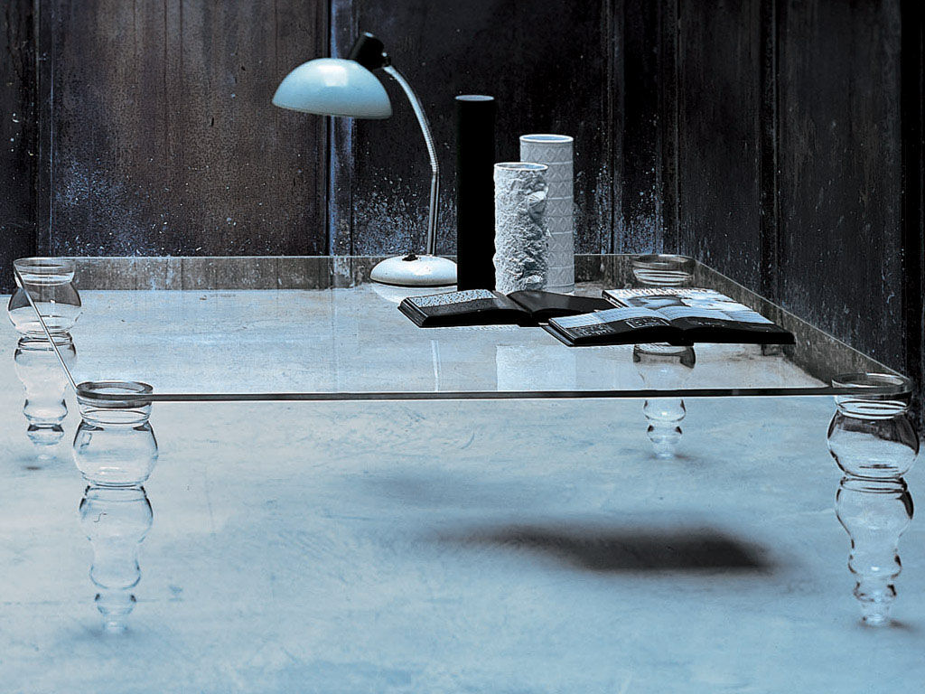Furniture - Coffee Tables - Post Modern Coffee table by Glas Italia - Square top - 110 x 110 cm - Glass