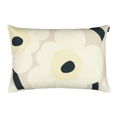 Decoration - Cushions & Poufs - Unikko Cushion cover - / 40 x 60 cm by Marimekko - Unikko / Dark green, cotton white - Cotton, Linen