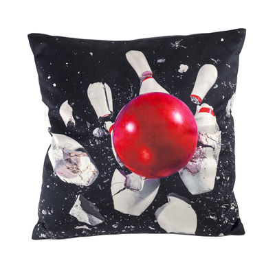 Decoration - Cushions & Poufs - Toiletpaper Cushion - / Bowling - 50 x 50 cm by Seletti - Bowling / Noir - Feathers, Polyester fabric