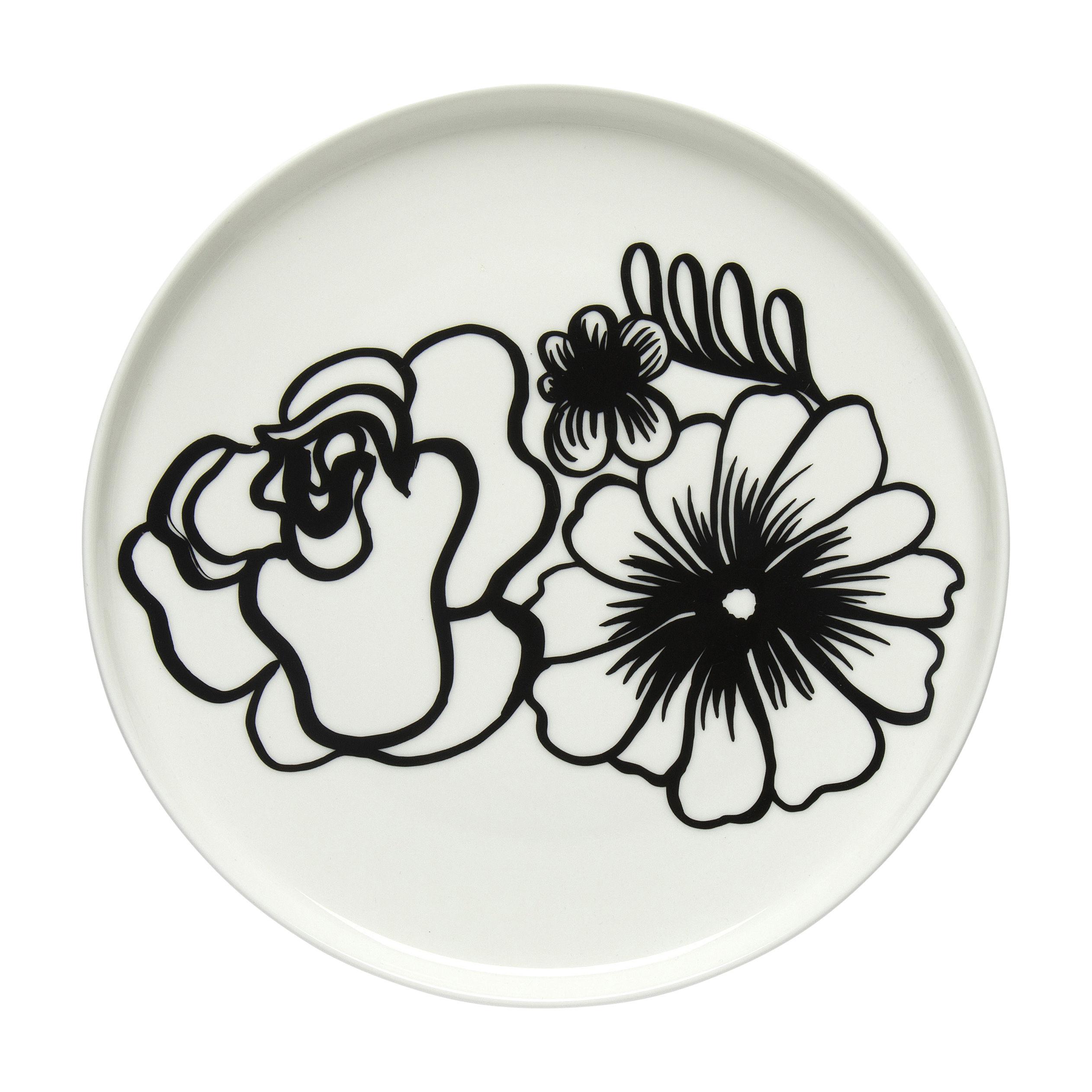 Tableware - Plates - Eläköön Elämä Dessert plate - / Ø 20 cm by Marimekko - Eläköön Elämä / Black & white - Sandstone