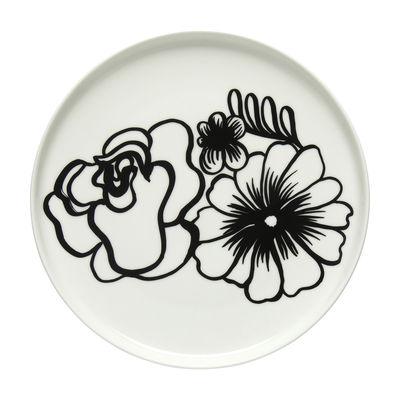 Tischkultur - Teller - Eläköön Elämä Dessertteller / Ø 20 cm - Marimekko - Eläköön Elämä / Schwarz & weiß - Sandstein