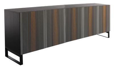 Furniture - Dressers & Storage Units - Carlos Dresser - / 5 doors with legs - L 240 x H 114 cm by Horm - Mokka / Multicolored - Heat treated oak, Laminated, Tinted ash veneer