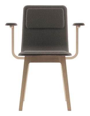 Mobilier - Chaises, fauteuils de salle à manger - Fauteuil rembourré Laia / Feutre de laine - Alki - Taupe / Piètement chêne naturel - Chêne massif, Feutre de laine, Multiplis de hêtre