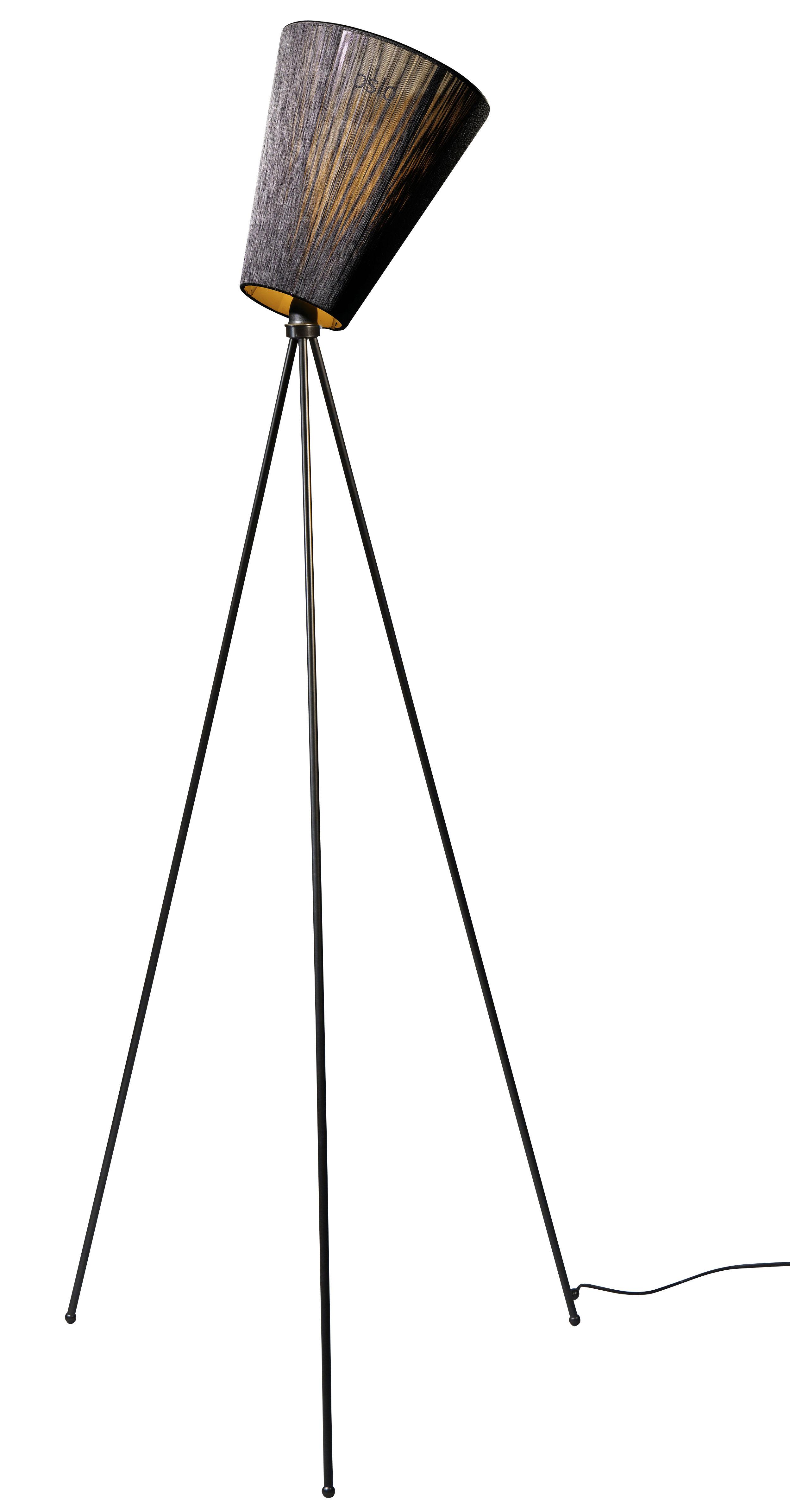 Illuminazione - Lampade da terra - Lampada a stelo Oslo Wood di Northern  - Nero / piede nero - Acciaio verniciato, Tessuto plissettato