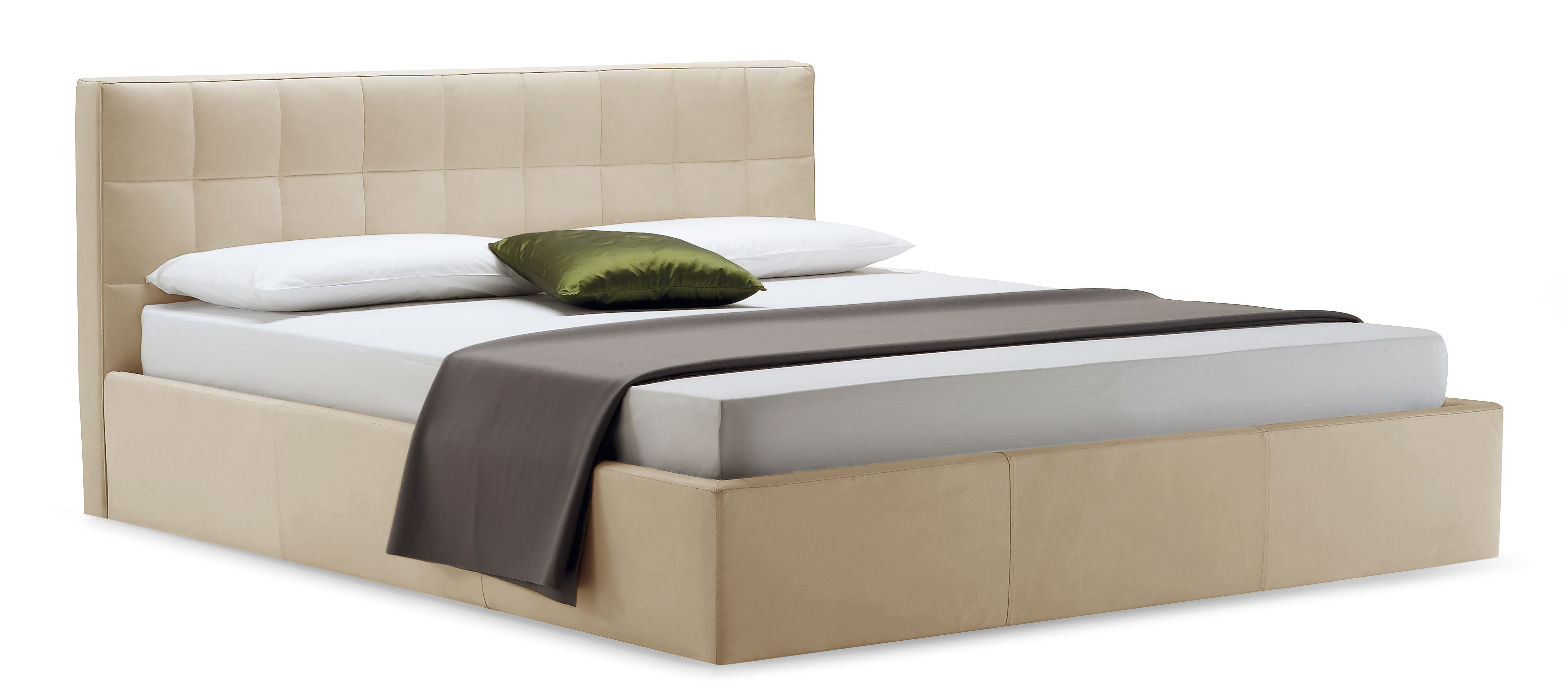 Mobilier - Lits - Lit double Box / 171 x 218 cm - Zanotta - Tissu - Beige chiné - Acier, Tissu