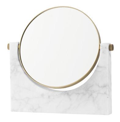 Déco - Miroirs - Miroir à poser Pepe Marble / Marbre & laiton - H 26 cm - Menu - Marbre blanc / Laiton - Laiton, Marbre, Miroir
