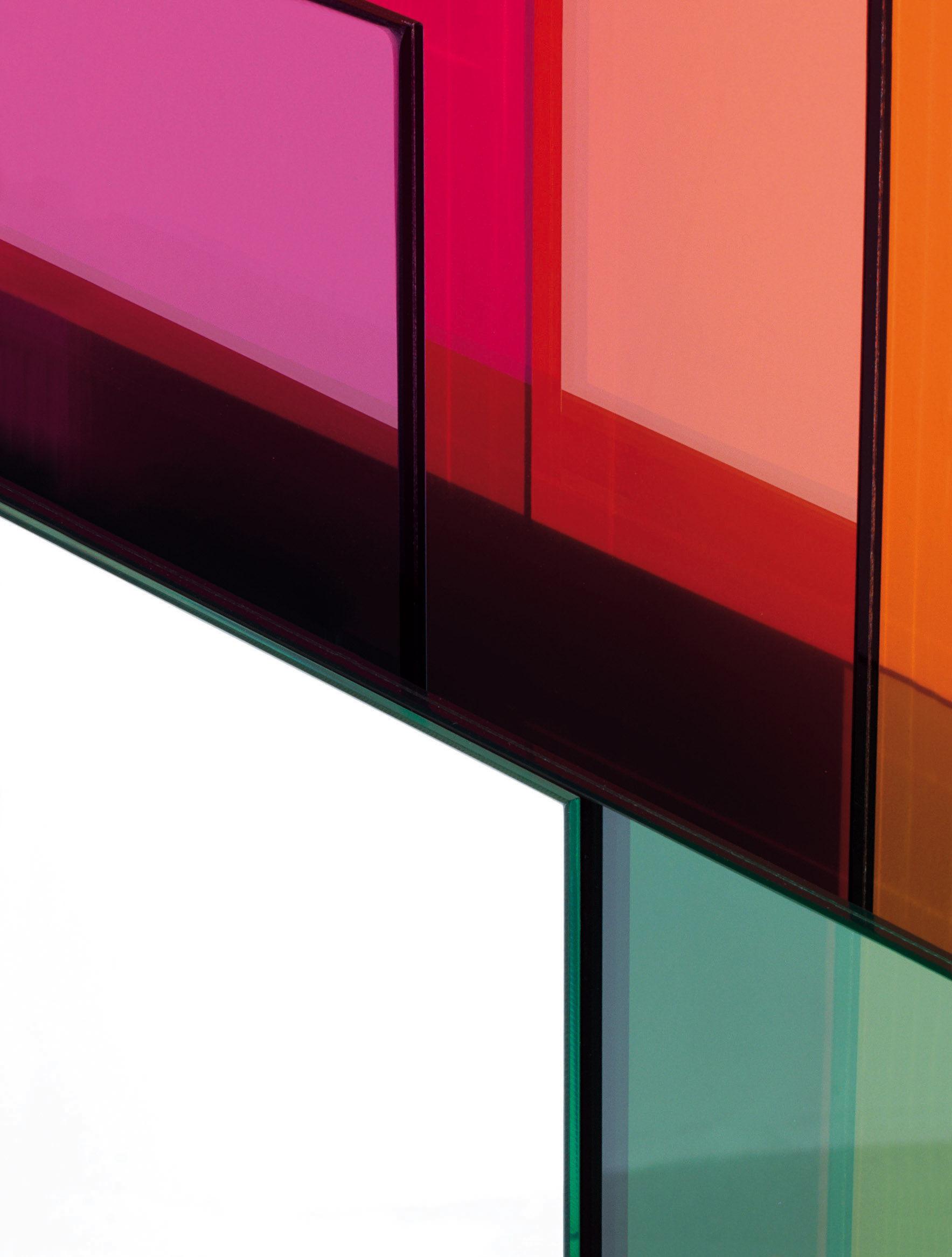 Miroir mural colour on colour 55 x 55 cm bleu clair rose rouge vert glas italia for Miroir mural original