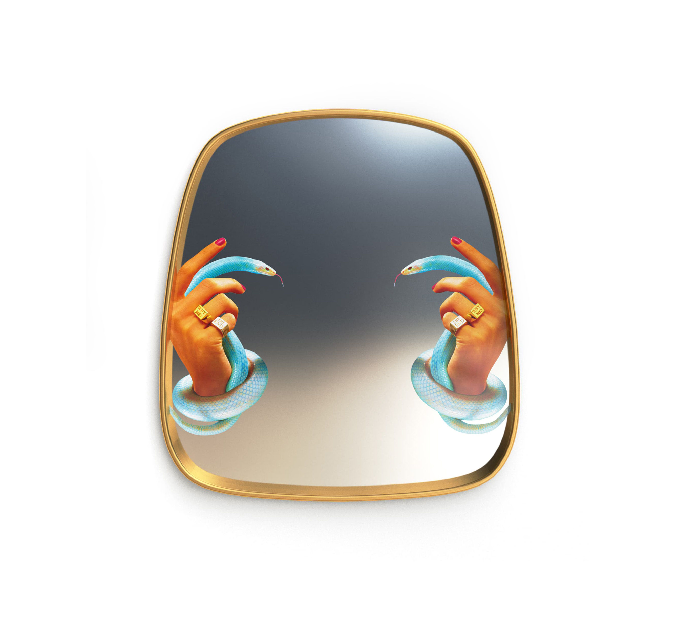Decoration - Mirrors - Toiletpaper Mirror - / Hands & snakes - 54 x 59 cm by Seletti - Hands & snakes / Brass frame - Brass, Glass, MDF