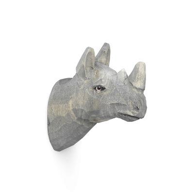 Mobilier - Portemanteaux, patères & portants - Patère Animal / Rhino - Bois sculpté main - Ferm Living - Rhinocéros - Bois de peuplier, Verre