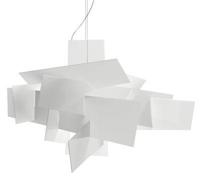 Leuchten - Pendelleuchten - Big Bang Pendelleuchte LED / Ø 96 cm - Foscarini - Weiß - Edelstahl, Lackiertes Aluminium, Polykarbonat