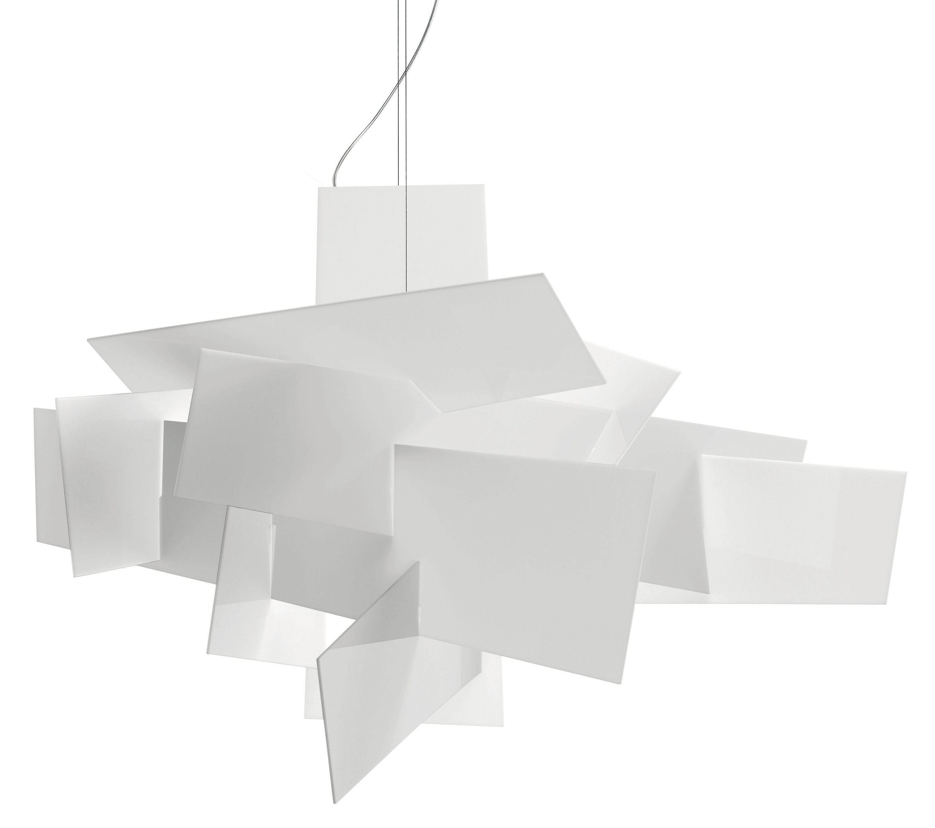 Leuchten - Pendelleuchten - Big Bang Pendelleuchte LED / Ø 96 cm - Foscarini - Weiß - Acier inox, Aluminium laqué époxy, Polykarbonat