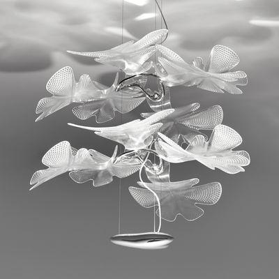 Leuchten - Pendelleuchten - Chlorophilia Double Pendelleuchte / LED - Ø 78 cm x H 66 cm - Artemide - Transparent - Aluminium, PMMA