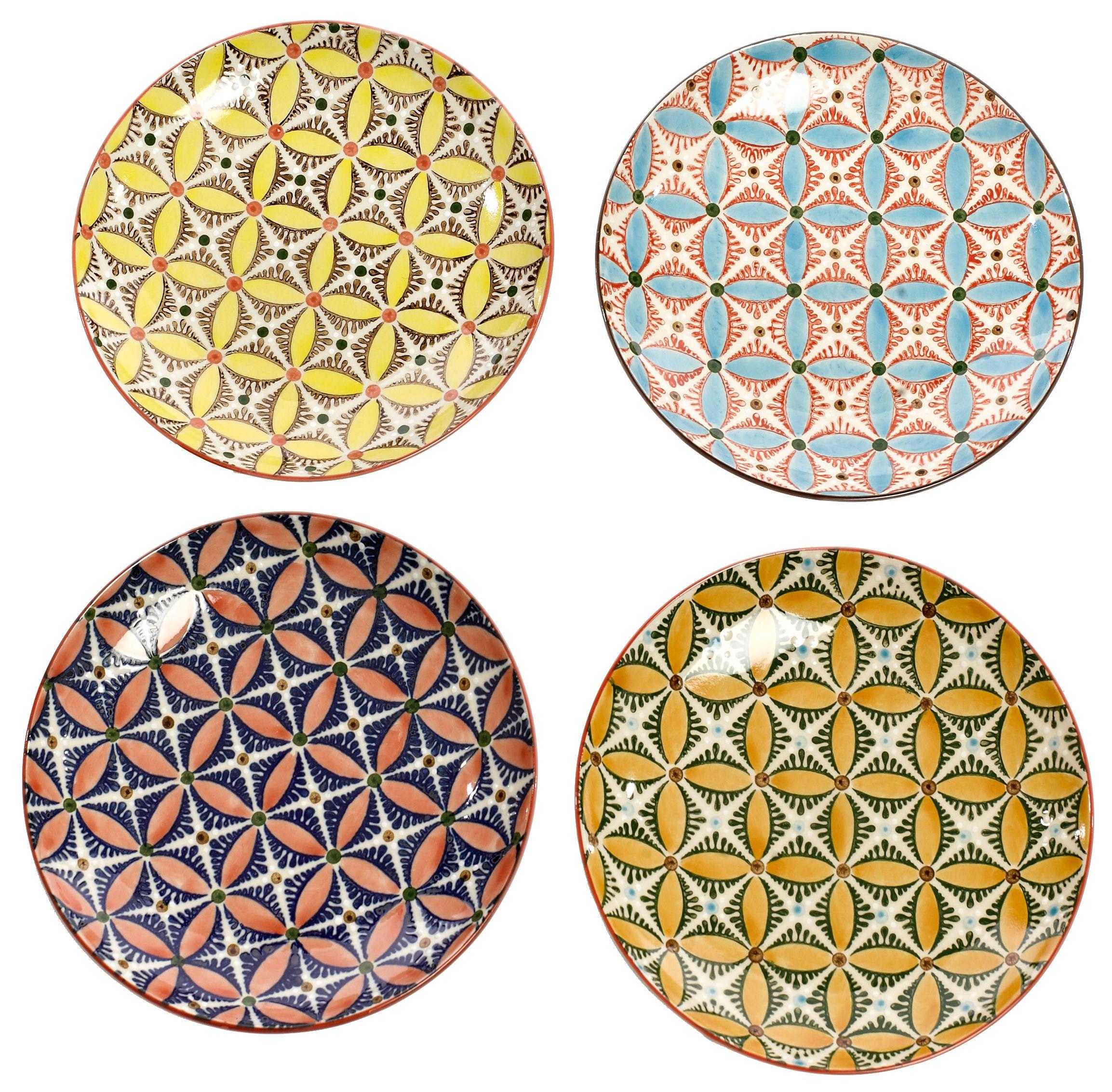Tavola - Piatti  - Piatto da dessert Hippy - / Ø 20 cm - Set da 4 di Pols Potten - Multicolore - Ceramica vetrificata