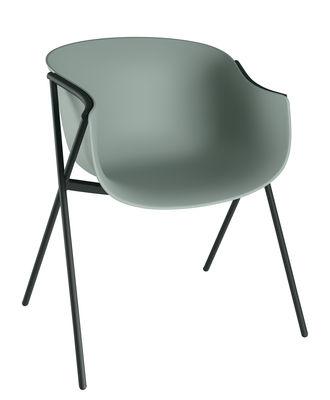 Image of Poltrona Bai / Guscio Plastica - 4 piedi Metallo - Ondarreta - Verde - Metallo/Materiale plastico