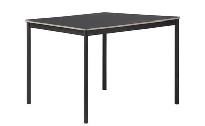 Möbel - Tische - Base rechteckiger Tisch / Tischplatte aus Holz - 140 x 80 cm - Muuto - Schwarz - extrudiertes Aluminium, Furnier, Press-Spanplatte